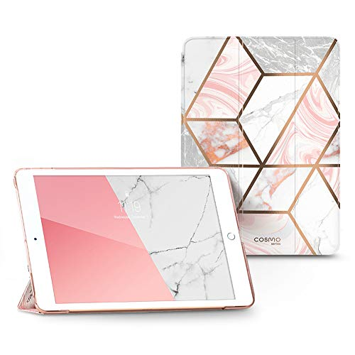 i-Blason Cosmo Lite Case for New iPad 7th Generation, iPad 10.2 2019 Case, Slim Trifold Stand Smart Case Translucent Hard Back Protective Cover with Auto Sleep/Wake (Marble)
