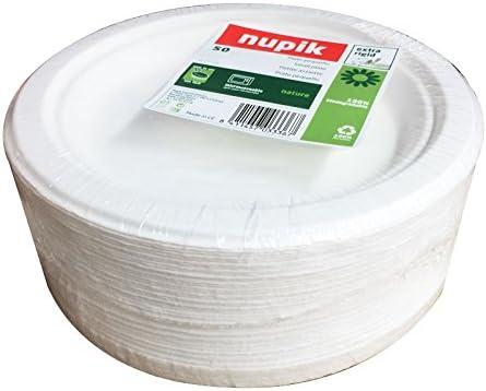 NUPIK Nature Plastic Plates Extra Rigid 100/% Biodegradable D17cm Pack of 50