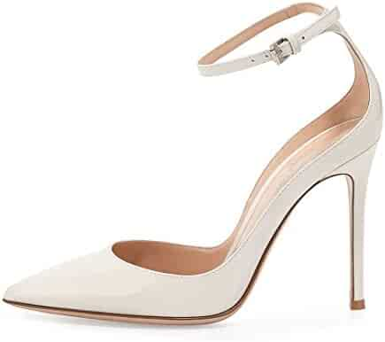 42294fc1c9 Sammitop Women's 100mm High Heel Pumps with Ankle Strap Pointed Toe Party  Dress Shoes