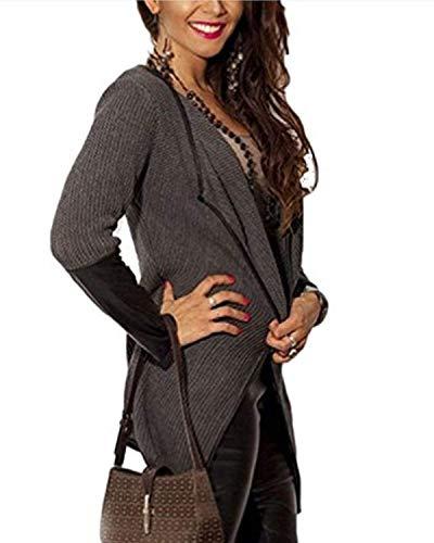 Irregular Elegante Mode A marca Abbottonatura Moda Camicetta Manica Maglia Autunno Sottile Casual Cappotto Cucitura Cardigan Donna Finta Pelle Outwear La Maglieria Lunga di qT0HtH