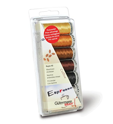 Gutermann Thread Set: Machine Embroidery Rayon 40 - Coffee by Gutermann