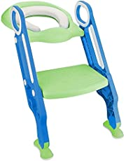 Potty Training Toilet Seat with Step Stool Ladder for Boys and Girls Baby Toddler Kid Children Toilet Training Seat Chair with Handles Padded Seat Non-Slip Wide Step