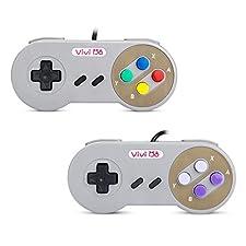 Vivi Do Classic Retro super Nintendo USB Wired Controller for Windows PC/MAC Gamepad(2 pack)