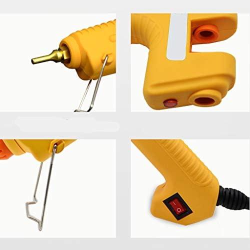Minmin DIYクラフト、アート、クイック修復、ホリデーデコレーション、イエローに適したホットメルト接着ガン、スティックのりとブラケット付き200Wハイパワープロフェッショナルホットグルーガン、 ミニ (Color : A)