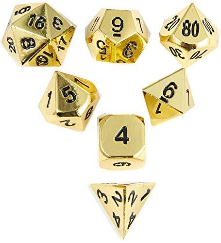 RPG Metal Game Dice Golden Polyhedral DND dice 7pcs Set of D4 D6 D8 D10 D12 D20