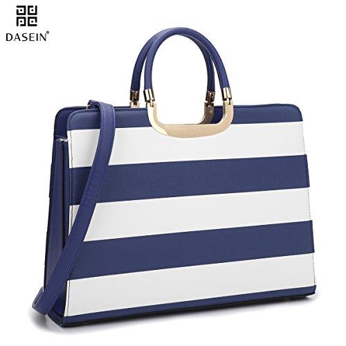 Dasein Womens Handbag PU leather Top Handle Satchel Designer Tote Purse Stripes Laptop Briefcase Bag
