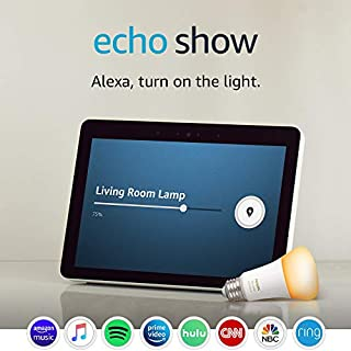 Echo Show (2nd Gen) with Philips Hue Bulb - Alexa smart home starter kit - Sandstone