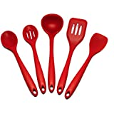 Sorbus Silicone Kitchen Utensil Set in Solid Coating-Dishwasher Safe (5-Piece)