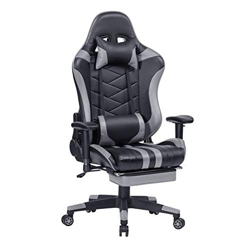 HEALGEN Gaming Chair with Retractable Footrest Gamer Chair Racing Style Gaming Chairs PC Computer Video Game Chair High Back Ergonomic Office Chair with Headrest Lumbar Support Cushion (Grey)