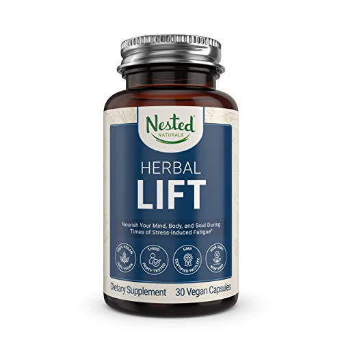 Nested Natural Herbal Lift | Rhodelia Stress Support Supplement | 30 Vegan Capsules | Herbal Blend for Calm and Positive Mood | Balanced Cortisol + Adrenal Levels | Mind-Boosting & Energy-Enhancing