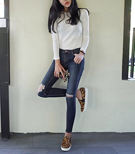 de la Jeggings Vaqueros Tiro Jeans Vaqueros imagen Alto Pantalones Como Rotos Skinny Leggins Ajustados Mujer zqOff
