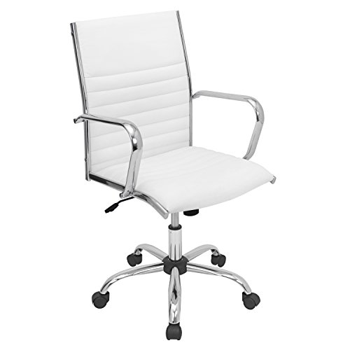 WOYBR Pu Leather, Chrome Master Office Chair, 21.75 Lx23 Wx37.75-41.5 H, White
