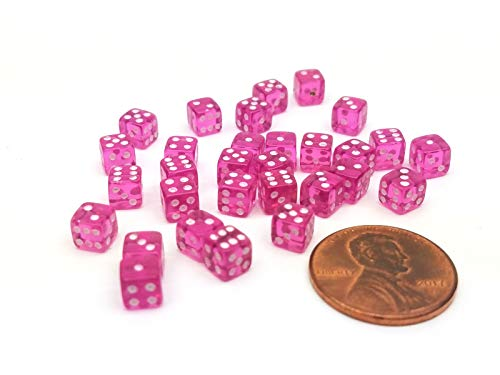 (Koplow Games Set of 30 D6 5mm Transparent Rounded Corner Dice - Purple with White Pips)