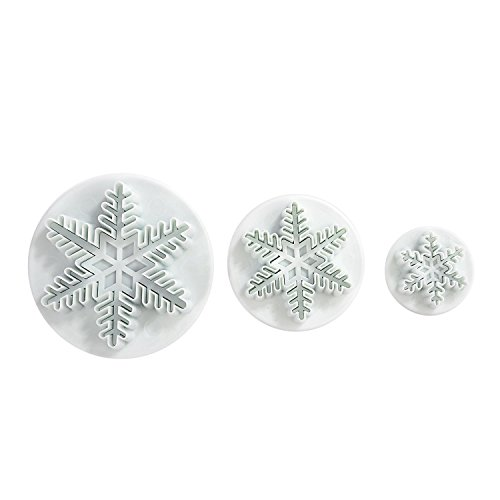 LIHAO Set of 3 Snowflake Fondant Cutters Cake Decorating Mold]()