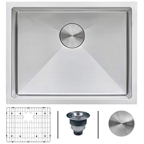 Corner Gauge - Ruvati 23-inch Undermount 16 Gauge Tight Radius Stainless Steel Kitchen Sink Single Bowl - RVH7123