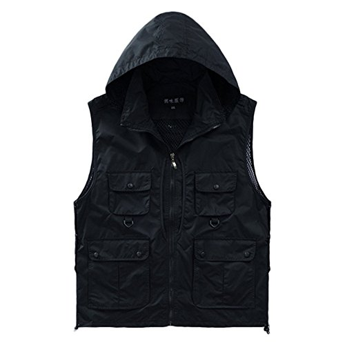 Cheap Unisex Outdoor Casual Quick-drying Extra Pockets Fishing Vest Travel Photography Vest with Detachable Hood (Black, XL)