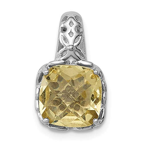 (925 Sterling Silver Lemon Quartz Pendant Charm Necklace Gemstone Fine Jewelry Gifts For Women For Her)