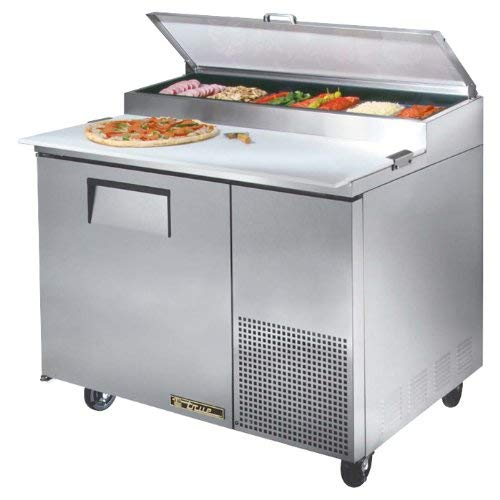 True 1-Door 2-Shelf S/S Pizza Prep Table w/White Alum. Interior 1 Door Pizza Prep Table