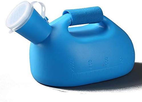 2D8V 男性2000ミリリットル便器ボトル、ふた脱臭、青/白、ポータブル便器漏れ防止デオドラントPP素材の高容量男性便器で渋滞/キャンプ/病院 (Color : White)