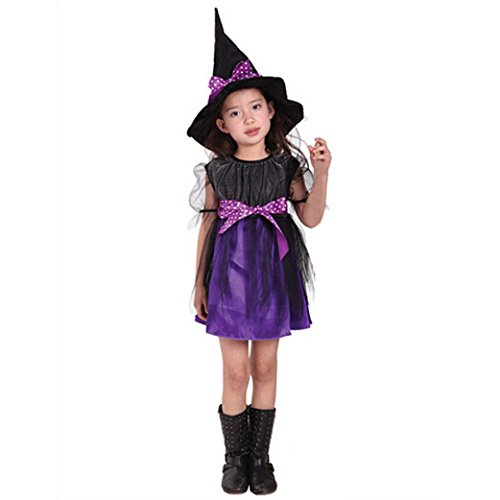 Muranba Toddler Kids Baby Girls Halloween Clothes Costume Dress Party Dresses+Hat Outfit (130CM, Purple) (Guirnalda Happy Halloween)