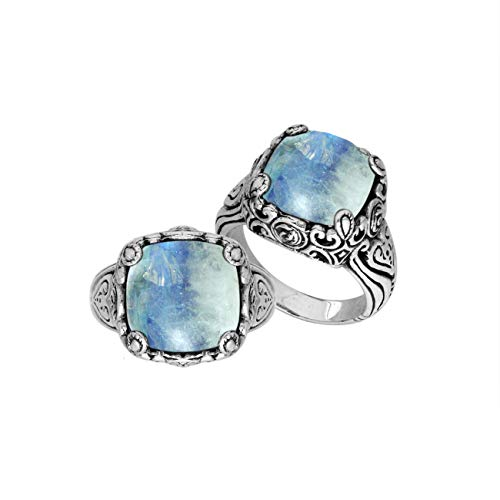 Bali Designs Sterling Silver Ring with Rainbow Moonstone Quartz AR-6227-RM-9
