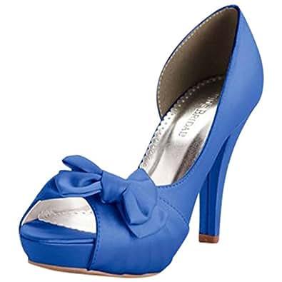 Satin Peep Toe Platform High Heel with Bow Style Maribelle, Horizon, 5
