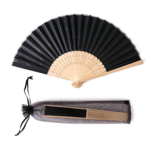 Hand Fans For Wedding (Sepwedd 50pcs Black Imitated Silk Fabric Bamboo Folded Hand Fan Bridal Dancing Props Church Wedding Gift Party Favors with Gift)