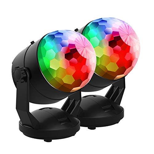 【New Arrival-6 Light Bulbs】Party Lights Sound Activated Disco Ball Strobe Light 7 Lighting Colors, USB/Battery Powered, Perfect for Kids, Festival Celebration Birthday Xmas Party-No Remote Included ()