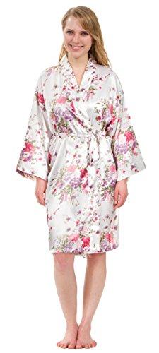 - Leisureland Elastic Satin Charmeuse Short Kimono Robe Floral 36