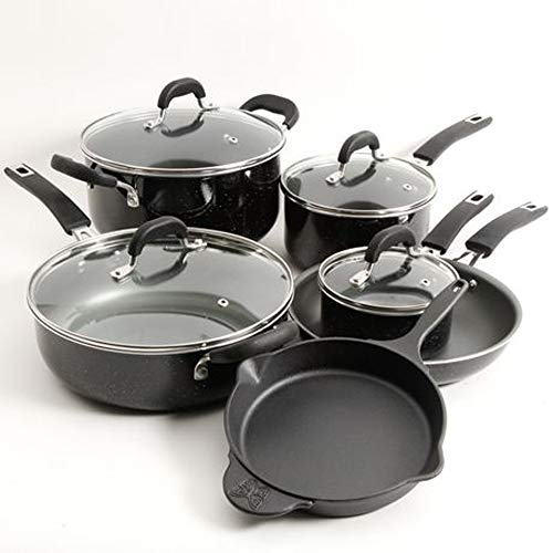 The Pioneer Woman Vintage Speckle 10-Piece Non-Stick Pre-Seasoned Black