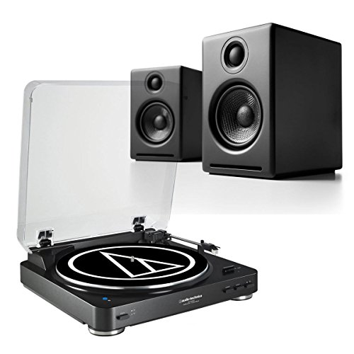 Audio-Technica AT-LP60 Fully Automatic Stereo 2-Speed Turntable System with Audio-engine A2 and Powered Desktop Speakers (Black)
