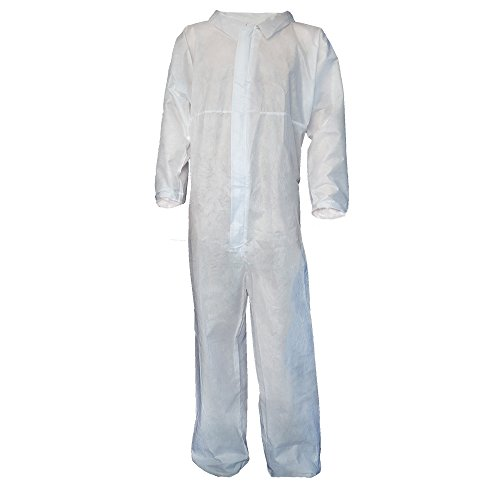 Raytex 5 Pack Disposable Coveralls Jumpsuits for Men White SMMS Chemical Protective Paint Suit Elastic at Cuffs, Ankles, Waist(X-Large)