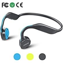 Bone Conduction Headphones Bluetooth Wireless Titanium HiFi Stereo Sports Headsets with Mic for Running Driving Cycling IP55 Waterproof Open Ear compatible with iphone Android Lake Blue
