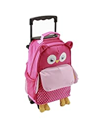 Yodo Convertible Playful 3-Way Little Kids Rolling Luggage or Toddler Backpack with Wheels, Large Front Quick Access Pouch for Snacks or Knickknacks, for Boys and Girls Age 3+, Owl