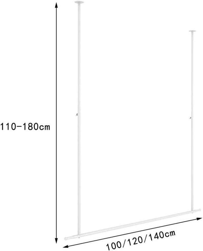 barra de ropa de metal ajustable Estante de exhibici/ón de ropa para colgar en el techo soporte de carga fuerte tiendas de novias balcones//Blanco // 100cm adecuado para tiendas de ropa