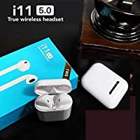 FINIVIVA TWS i11 5.0 Wireless Earphone with Portable Charging Case supporting All smart phones and Android phones with Sensor (White)