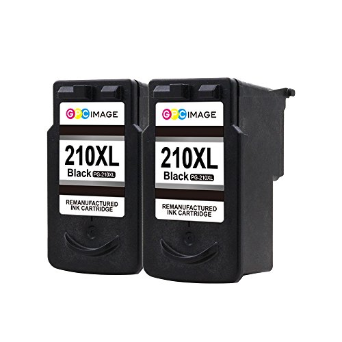 GPC Image PG-210XL Remanufactured Ink Cartridge (InkLevel Chip) Replacement for PG210 XL 210XL PG 210 XL for PIXMA iP2702 MP495 MP240 MX410 MP280 MP480 MX360 MX420 Printer High Yield (2 Black)