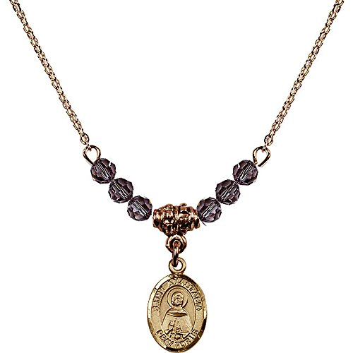 Anastasia 4 Light Pendant (18-Inch Hamilton Gold Plated Necklace with 4mm Light Purple February Birth Month Stone Beads and Saint Anastasia Charm)