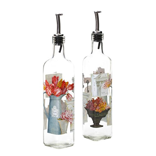 Oil Gourmet Bottle (CEDAR HOME 17 ounces Glass Gourmet Oil Bottle with Lever Release Pourer,Set of 2)