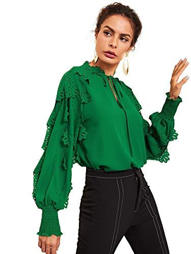 Floerns Women's Long Sleeve Tie Bow Neck Long Sleeve Ruffle Work Blouse Top Green L ()