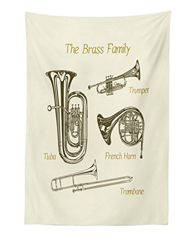 """Lunarable Music Tapestry, Brass Family Instruments Drawing of Tuba Trumpet Trombone and French Horn, Fabric Wall Hanging Decor for Bedroom Living Room Dorm, 30"""" X 45"""", Green Khaki"""