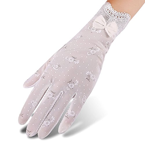 Color Lace Gloves (Nurbijar Women Stretch Breathable Lace Gloves Anti-slip Full Palm Touch Screen UV Protection Driving Gloves-White Color)