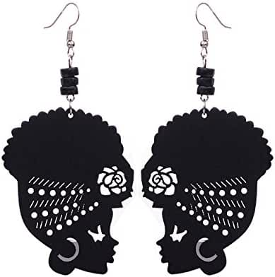 Wooden Flower Turban African Woman Head and Bead Dangle Hook Earrings