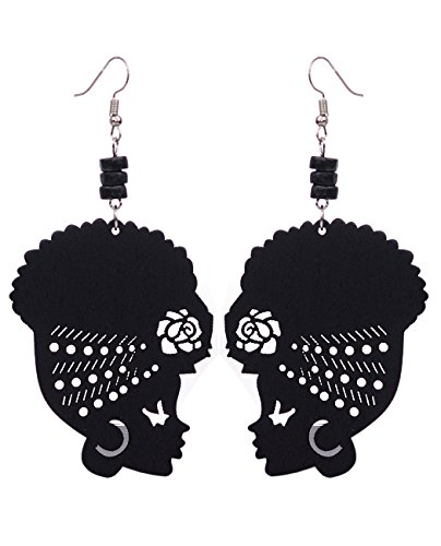 Wooden Flower Turban African Woman Head and Bead Dangle Hook Earrings - Black, Black Bead