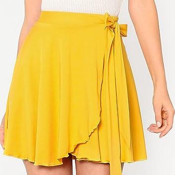 SONGQINGCHENG La Mujer Amarillo Sólido Verano Faldas Cintura ...