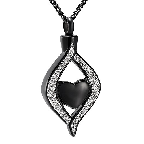 Crystal Inlay Heart Eye Cremation Urn Necklace Ashes Keepsake Pendant Memorial Jewelry+Fill Kit (Black)