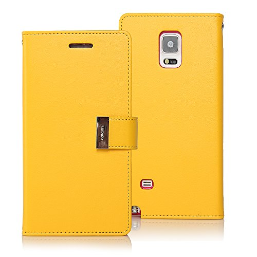 Galaxy Note Edge Case, [Drop Protection] GOOSPERY Rich Diary [Wallet Case] Premium Soft Synthetic Leather Case [ID/Card & Cash Slot] Cover for Samsung Galaxy Note Edge (Yellow) NTE-RIC-YEL