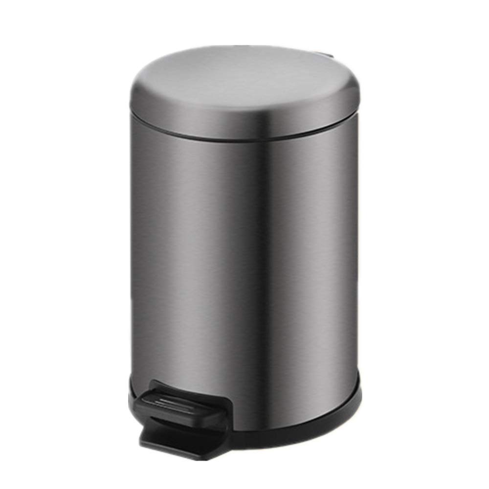 Trash can Round Trash Can The Mute Pedal-Type Trash Can/Black Stainless Steel Home Hotel Room Office Can Keep Open for Bathroom Kitchen Office Home Bedroom (Color : Black, Size : 12L) by Yuybei-Home