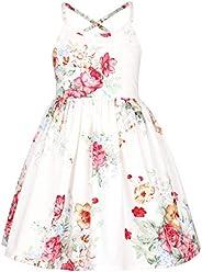 Flofallzique Vintage Floral Girls Dress Easter Summer Beach Toddler Party Dress for 3-12 Y