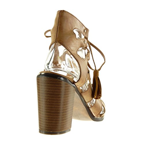 Angkorly Women's Fashion Shoes Sandals Ankle Boots - Booty - Gladiator - Sexy - Fringe - Pom Pom - Studded Block High Heel 9.5 cm Camel 8TaL8R